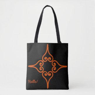 Orange Four Hearts Flower Pattern Tote Bag