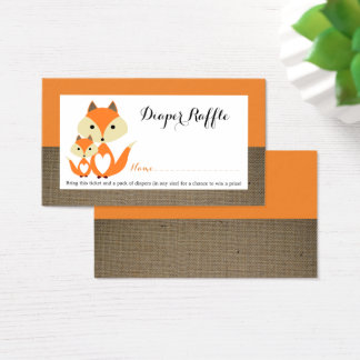 Orange Fox Burlap Baby Shower Diaper Raffle Ticket