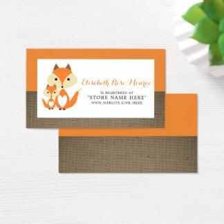 Orange Fox Burlap Baby Shower Gift Registry Business Card