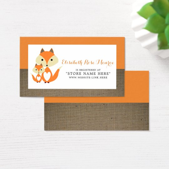Orange Fox Burlap Baby Shower Gift Registry Business