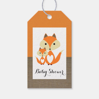 Orange Fox Burlap Baby Shower Gift Tags