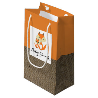 Orange Fox Burlap Baby Shower Small Gift Bag