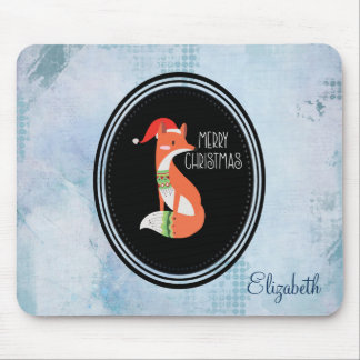 Orange Fox in Red Santa Hat Merry Christmas Mouse Mat