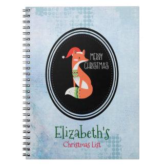 Orange Fox in Red Santa Hat Merry Christmas Notebook