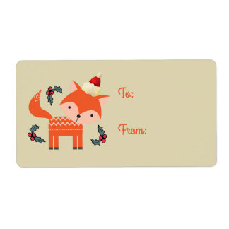 Orange Fox In Santa Hat Cute Retro Christmas Gift Shipping Label