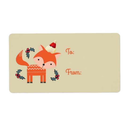 Orange Fox In Santa Hat Cute Retro Christmas Gift Shipping Label
