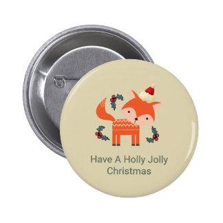 Orange Fox In Santa Hat Cute Whimsical Christmas 6 Cm Round Badge