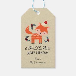 Orange Fox In Santa Hat Cute Whimsical Christmas Gift Tags