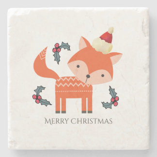 Orange Fox In Santa Hat Cute Whimsical Christmas Stone Beverage Coaster
