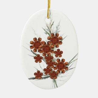 Orange Fractal Art Bouquet Christmas Ornament