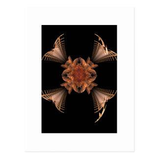 Orange Fractal Art Floral Design Postcard