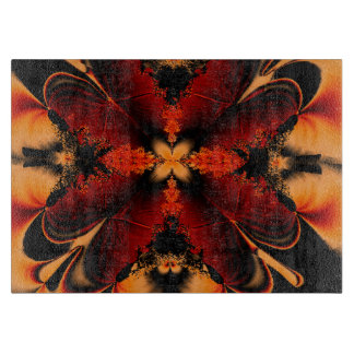 Orange Fractal Flower Cutting Board
