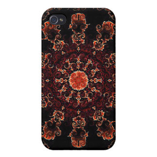 Orange fractal kaleidoscope iPhone case