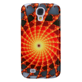 Orange Fractal Spider Web Galaxy S4 Covers