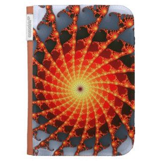 Orange Fractal Spider Web Cases For The Kindle