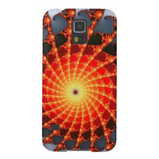 Orange Fractal Spider Web Galaxy S5 Cases