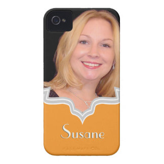 Orange frame girly photo iPhone template custom iPhone 4 Cases