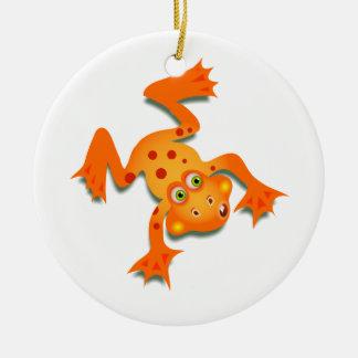 Orange Frog Christmas Ornament