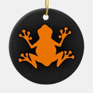 Orange Frog Round Ceramic Decoration