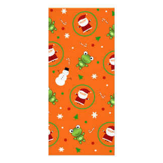 Orange frogs santa claus snowmen rack cards