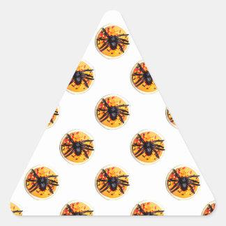 Orange Frosted Spider Halloween Cookie Pattern Triangle Sticker