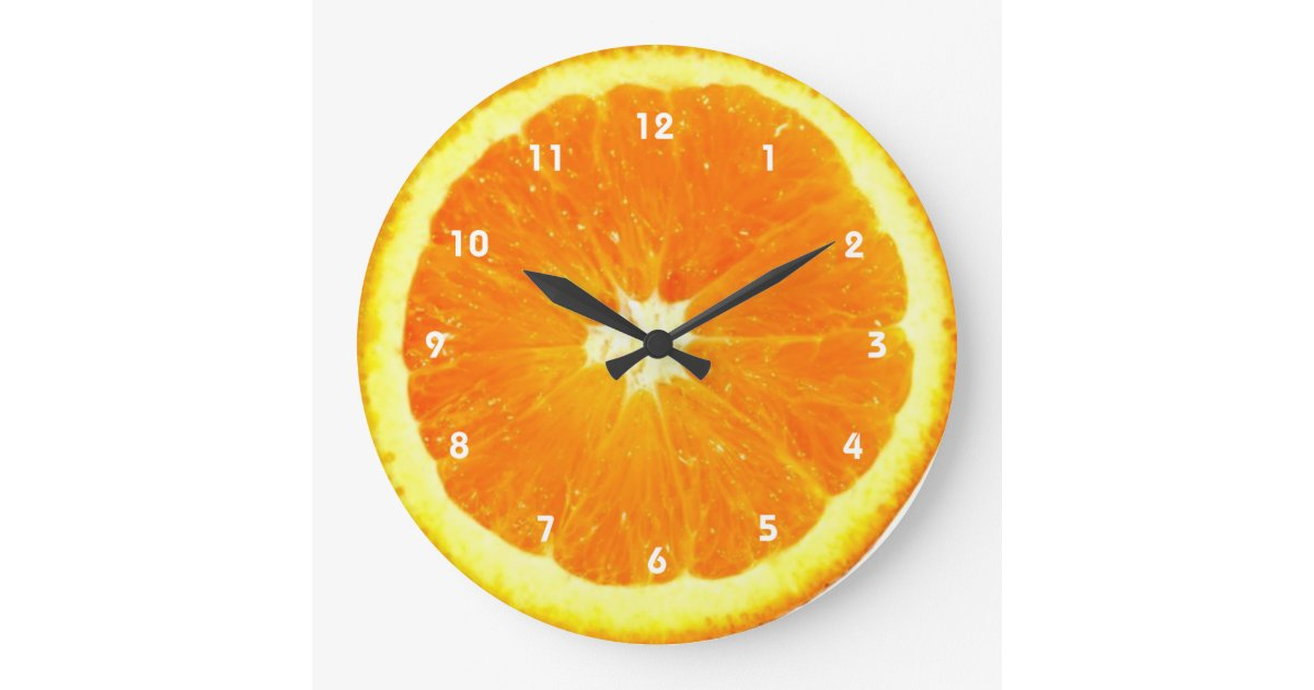 Orange Fruit Clock With Numbers Zazzle Co Uk
