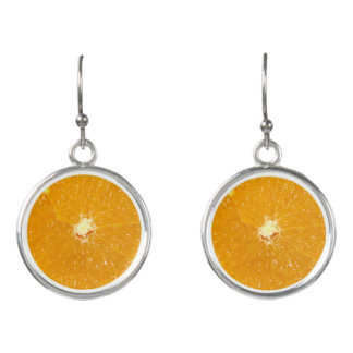 Orange Fruit Fresh Slice - Drop Earrings