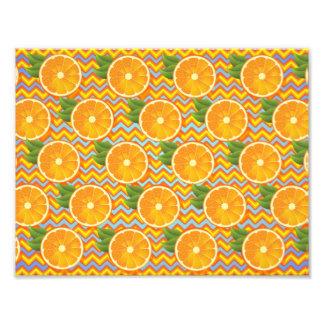 Orange Fruit on Colors Chevrons and Blue Photo Art