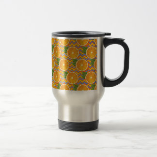 Orange Fruit on Colors Chevrons and Blue Stainless Steel Travel Mug