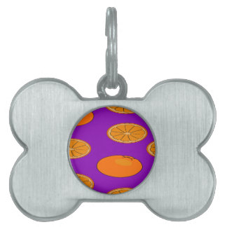 Orange fruit pattern pet ID tag