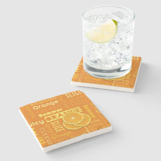 Orange Fruit Slices Typo - Marble Stone Coaster