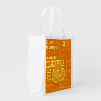 Orange Fruit Slices Typo - Reusable Bag