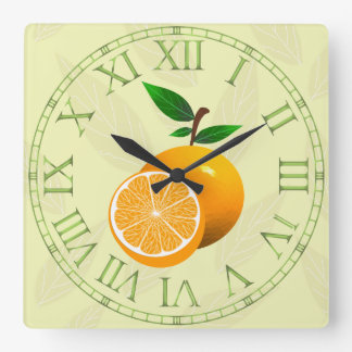Orange Fruit Square Wall Clock