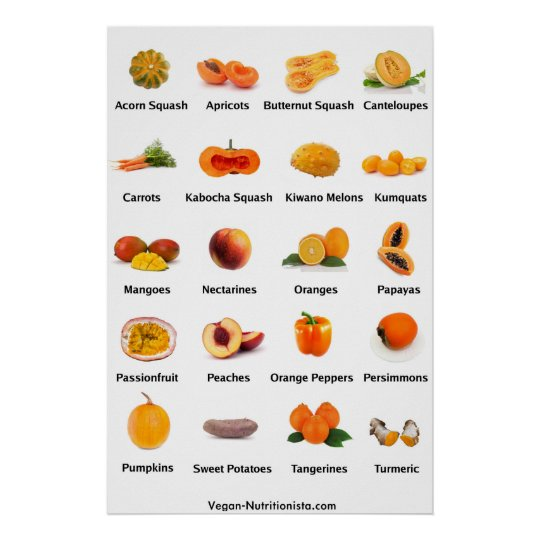 Orange Fruits and Vegetables Poster