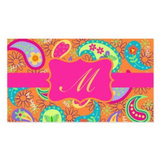 Orange Fuchsia Pink Modern Paisley Monogram Pack Of Standard Business Cards
