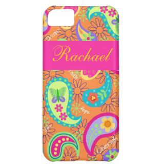 Orange Fuchsia Pink Modern Paisley Pattern Name iPhone 5C Case