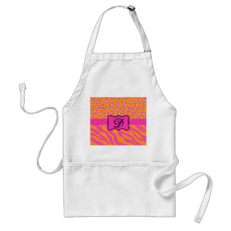 Orange & Fuchsia Pink Zebra & Cheetah Personalized Standard Apron