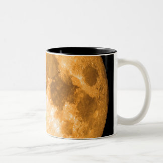 orange full moon Two-Tone coffee mug