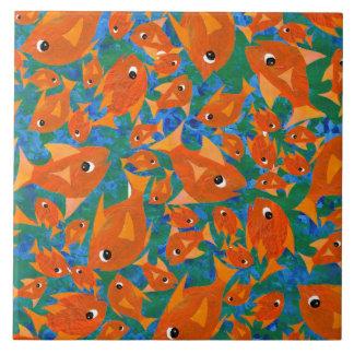 Orange Fun Fish on Blue Green Background Tile