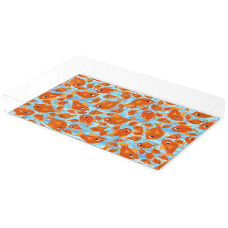 Orange Fun Fish on Watery Blue Background Acrylic Tray