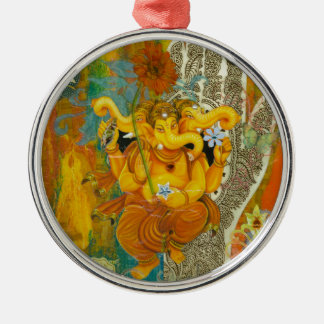 Orange Ganesha Christmas Ornament