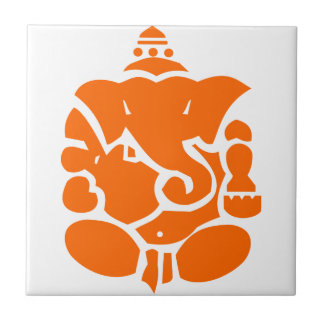 Orange Ganesha Illustration Small Square Tile