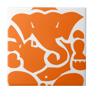 Orange Ganesha Small Square Tile