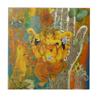 Orange Ganesha Ceramic Tile
