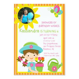 Orange Gardening Girl Photo Birthday Invitation