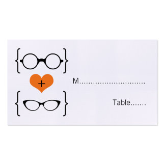 Orange Geeky Glasses Wedding Place Cards Pack Of Standard Business Cards