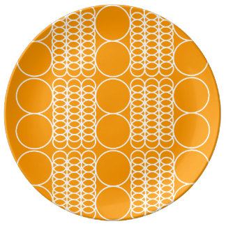 Orange Geo Porcelain Plate by Florence Dashiell