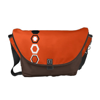 Orange Geometric Abstract Art Design Messenger Bags