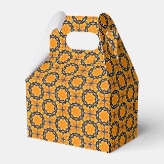 Orange Geometric Flower Pattern Favour Box