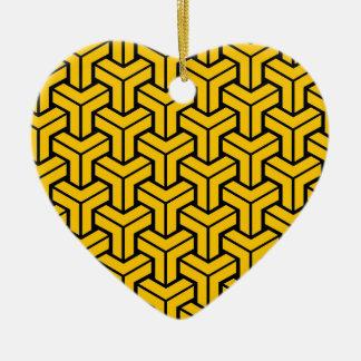 Orange Geometric Pattern Christmas Ornament